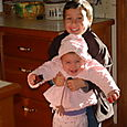 cole and Maya at Nanna's house