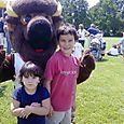 Kids with Buckey the bison