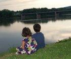 Siblings by the riverside