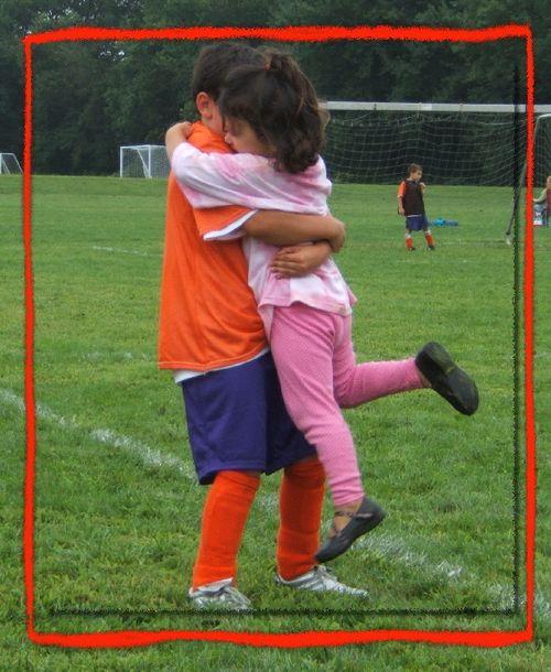 Kid hugs